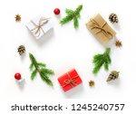 christmas composition on white... | Shutterstock . vector #1245240757