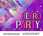 retro party banner for radio ... | Shutterstock .eps vector #1245245407