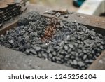 forge brazier with very hot... | Shutterstock . vector #1245256204