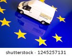 a removals van on the eu flag... | Shutterstock . vector #1245257131