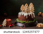 Gingerbread Cake Decorated Wit...