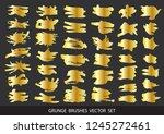 set of gold paint  ink brush... | Shutterstock .eps vector #1245272461
