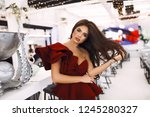 amazing lady in red party dress ... | Shutterstock . vector #1245280327
