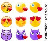 kissing emoticon set. isolated...   Shutterstock .eps vector #1245286654