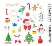 collection of christmas... | Shutterstock .eps vector #1245299377