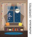 cozy interior with window ... | Shutterstock .eps vector #1245307021