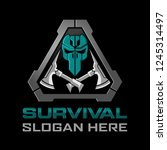 tactical survival skull logo... | Shutterstock .eps vector #1245314497
