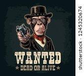 monkey gentleman holding a... | Shutterstock .eps vector #1245320674