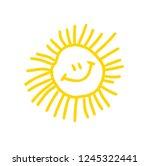funny doodle sun. vector. hand... | Shutterstock .eps vector #1245322441