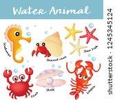 hand draw water animal... | Shutterstock .eps vector #1245345124