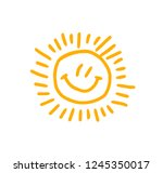 vector.hand drawn sun. doodle | Shutterstock .eps vector #1245350017