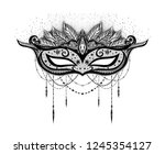 black carnival mask on the... | Shutterstock .eps vector #1245354127