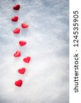 Red Hearts On Glittering Snow...