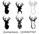 heads of deers  reindeers heads ... | Shutterstock .eps vector #1245407767