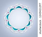 3d round islamic frame  floral... | Shutterstock . vector #1245421297