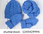 the woolen blue yarn ball. the... | Shutterstock . vector #1245429994
