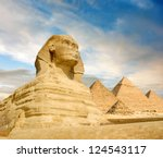 famouse sphinx and the great... | Shutterstock . vector #124543117
