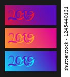 happy new year 2019 card with... | Shutterstock .eps vector #1245440131