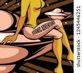 cosmic adventure. vector hand... | Shutterstock .eps vector #1245446251