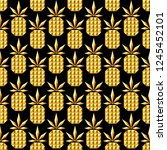 golden jewelry pineapple... | Shutterstock .eps vector #1245452101