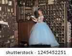 girl in a ball dress in retro... | Shutterstock . vector #1245452251