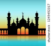 mosque black silhouette on dawn ... | Shutterstock .eps vector #1245452317