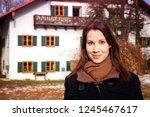 portrait of brunette young... | Shutterstock . vector #1245467617