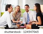 businesspeople with digital... | Shutterstock . vector #124547065