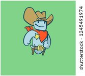 robot sheriff  with cowboy hat...   Shutterstock .eps vector #1245491974