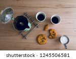 two cups of espresso coffee and ... | Shutterstock . vector #1245506581
