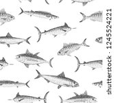 various fish types in stippled... | Shutterstock .eps vector #1245524221
