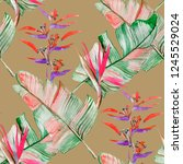 succulents and tropical leaves... | Shutterstock . vector #1245529024