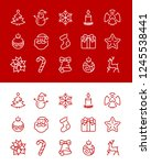 christmas and new year icon set ...