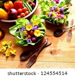 vegetables with salad dish with ... | Shutterstock . vector #124554514