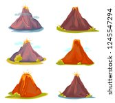 cartoon hot volcano with magma... | Shutterstock .eps vector #1245547294