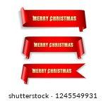 banner  ribbon merry christmas... | Shutterstock .eps vector #1245549931