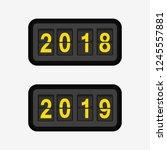 flip clock with 2019 on display.... | Shutterstock .eps vector #1245557881
