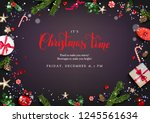holiday card with christmas... | Shutterstock .eps vector #1245561634