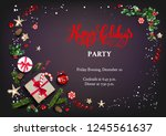 holiday card with christmas... | Shutterstock .eps vector #1245561637