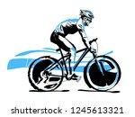 triathlon athlete ride the bike | Shutterstock .eps vector #1245613321