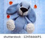 Toy Blue Rabbit On Blue...