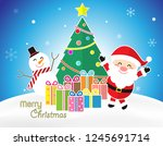 merry chrismas season cartoon... | Shutterstock .eps vector #1245691714