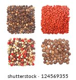 Set of four different spices square shape on white background - stock photo