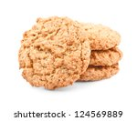 stack of chip cookies on a white background - stock photo