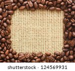 coffee beans square frame on sacking background - stock photo