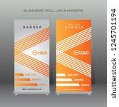modern roll up banner. orange... | Shutterstock .eps vector #1245701194