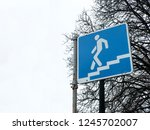 a blue sign of entrance to the... | Shutterstock . vector #1245702007