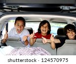 Smiling Happy Children In Car...