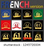 set of number 61  sixty one... | Shutterstock .eps vector #1245720334