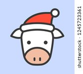 cow face with santa hat vector  ... | Shutterstock .eps vector #1245723361